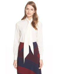 Tory Burch - White Tie Neck Stretch Silk Blouse - Lyst