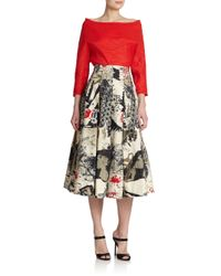 Donna Karan - Natural Street Art Printed Cotton Skirt - Lyst