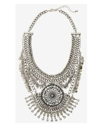 Express - Metallic Nested Chain And Medallion Necklace - Lyst