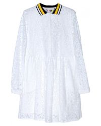 MSGM - White Lace Dress With Collar - Lyst