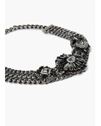 Mango | Black Crystal Link Necklace | Lyst