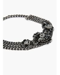 Mango - Black Crystal Link Necklace - Lyst