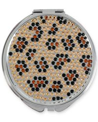 Betsey Johnson | Metallic Silver-tone Crystal Leopard Compact Mirror | Lyst
