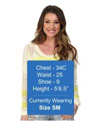 Roxy - Yellow Rocky Point Stripe Sweater - Lyst