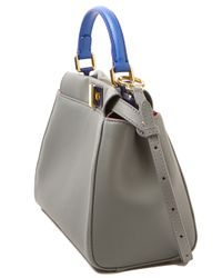 Fendi - Gray Mini Peekaboo Satchel - Lyst