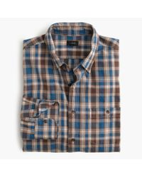 J.Crew | Blue Jaspé Cotton Shirt In Cabin Plaid for Men | Lyst