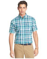 Izod - Blue Seaside Large Plaid Poplin Short Sleeve Shirt for Men - Lyst