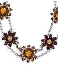 DANNIJO - Metallic Silver Crystal Flower Choker Necklace - Lyst