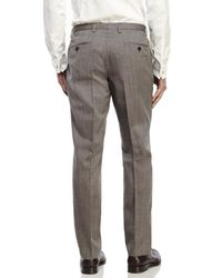 BOSS - Gray Grey Flat Front Wool Dress Pants for Men - Lyst