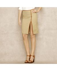 Ralph Lauren Blue Label | Natural Leathertrimmed Chino Skirt | Lyst