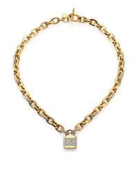 Michael Kors | Metallic Motif PavÉ Padlock Chain Necklace/Goldtone | Lyst