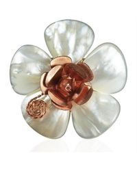 Aeravida - White Flourishing Copper Rose Mother Of Pearl Free Size Ring - Lyst