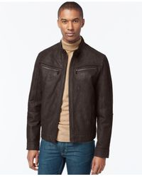 Michael Kors | Brown Michael Washed Nubuck Leather Moto Jacket for Men | Lyst