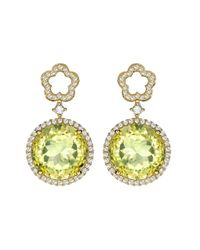 Kiki McDonough - Yellow Diamond Lemonquartz Gold Earrings - Lyst