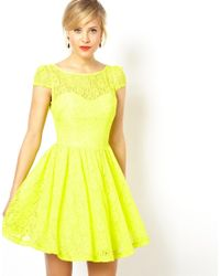ASOS | Yellow Lace Short Sleeved Skater Dress | Lyst