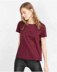 Zara | Purple Geometric Design T-shirt | Lyst