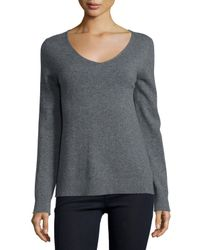 Neiman Marcus | Gray Modern Cashmere V-neck Sweater | Lyst