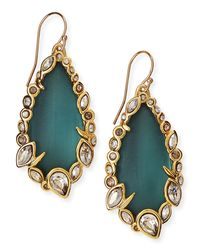 Alexis Bittar - Green Teal Lucite & Crystal Lace Drop Earrings - Lyst