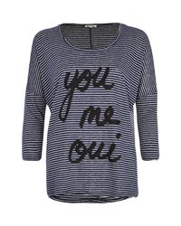 River Island - Blue Navy You Me Oui Stripe T-Shirt - Lyst