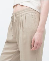 Zara | Natural Drawstring Waist Trousers | Lyst