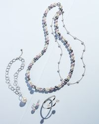 Majorica - White Silver Pearl-station Long Necklace - Lyst
