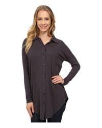 Mod-o-doc - Gray Sueded Slub Jersey Drop Shoulder Button Front Shirt - Lyst