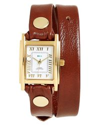 La Mer Collections | Brown Leather Wrap Watch | Lyst