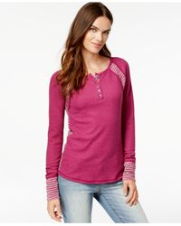Lucky Brand | Purple Contrast-panel Thermal Top | Lyst