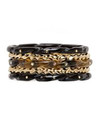 Ashley Pittman | Metallic Mixed Horn Stacking Bracelets | Lyst