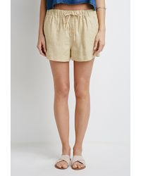 Forever 21 - White Contemporary Linen Drawstring Shorts - Lyst