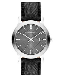 Burberry - Black Check Stamped Round Dial Watch for Men - Lyst