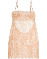 I.D Sarrieri - Natural - Chantilly Lace And Tulle Chemise - Blush - Lyst