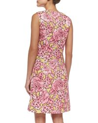 Etro | Green Peony Matelasse Sheath Dress | Lyst