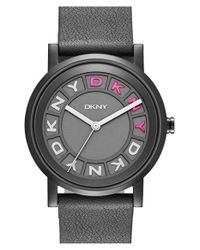 DKNY | Black 'soho' Leather Strap Watch | Lyst
