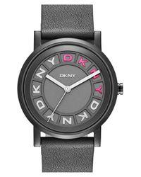 DKNY - Black 'soho' Leather Strap Watch - Lyst