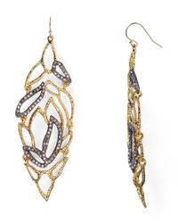 Alexis Bittar - Gray Crystal Embellished Lacy Leaf Wire Earrings - Lyst