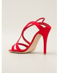 Alexander McQueen | Red Strappy Evening Sandal | Lyst