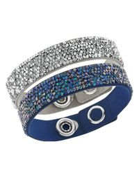 Swarovski | Crystal Rock And Blue And Grey Alcantara Bracelet Set - 2 | Lyst