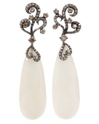 Arunashi - Black White Moonstone Diamond Earrings - Lyst