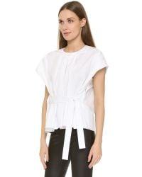 Tibi - White Poplin Pleated Tie Top - Lyst