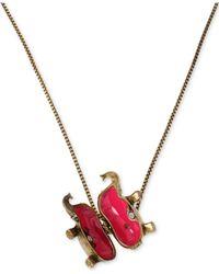 Betsey Johnson - Metallic Brass-Tone Elephant Locket Pendant Necklace - Lyst