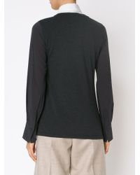Brunello Cucinelli - Gray Contrasting Sleeve Blouse - Lyst