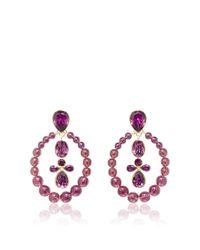 Oscar de la Renta - Purple Beaded Crystal Earring - Lyst