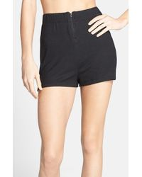 Csbla | Black 'bari' High Waist Ribbed Shorts | Lyst