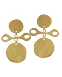 Kenneth Jay Lane | Metallic Satin Gold Clip Earring | Lyst
