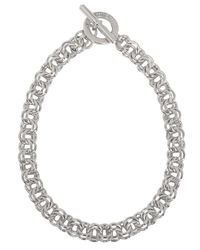 Karen Millen | Metallic Hoop and Bar Chain Necklace | Lyst