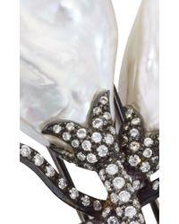 Gioia - White Freshwater Pearl And Diamond Pin - Lyst