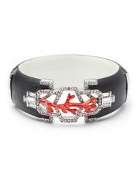 Alexis Bittar | Black Coral Deco Rhodium Framed Hinged Bracelet | Lyst