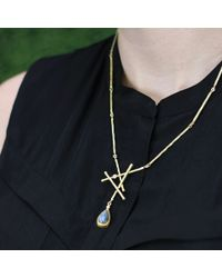 Boaz Kashi - Metallic Labradorite Drop Criss Cross Necklace - Lyst