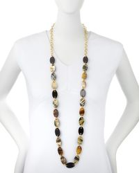 Nest | Brown Mixed Dark Horn Station Necklace | Lyst